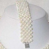 Fancy Jewellery white pearl necklace bracelet shipping free(China (Mainland))