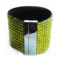 Magnetic bracelets,fashion leather bracelets/bangles olivine color ,popular styles,