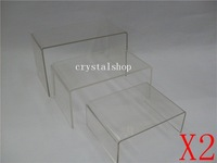 Wholesale Free Shipping 2 Acrylic Display Riser 3 Step Clear Display Stand Showcase Holder