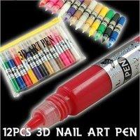 12 Colors 3D Paint Pen UV Gel Acrylic Nail Art Polish