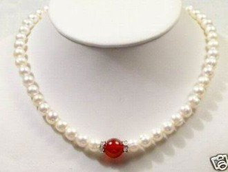 Jewelry 7-8mm white freshwater pearl necklace red jade shipping free(China (Mainland))