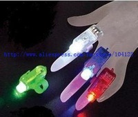 magic free shipping 200pcs/lot LED Light flash laser finger mini glow beams rings lamp torch
