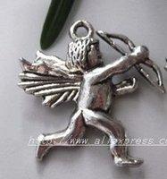 Free Shipping 100Pcs Tibet Silver Angel Charm pendants
