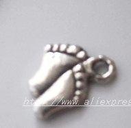 Free Shipping 600Pcs Tibet Silver Foot Charm pendants