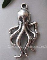 Free Shipping 120Pcs Tibet Silver Fashion octopus Charm pendants
