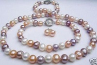 """7-8MM cultured pearl necklace 18"""" bracelet earring shipping free"""