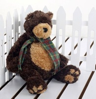 """15"""" (38cm) Lovely Silly Sitting Teddy Bear With Scarf 2pcs/lot As Christmas Gift+ (Drop Shipping Support!) & Free Shipping"""
