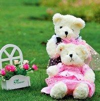 "13 x 6.7"" (33*17cm) WEDDING TEDDY BEAR COUPLE STUFFED PLUSH+ (Drop Shipping Support!) & Free Shipping"
