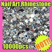 New ! Wholesales Price 10000 2mm Round Nail Art Glitter Rhinestone 155
