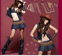 The sexy lingerie DS take wild west cowboy stage outfit bar performance. DS117 served served  free shipping wholesale 5 pcs