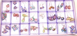 SALE Wholesale 24 pairs Mix pendants Lovely Cloisonne dangle earring with Stering Silver 925 Hook-who124 Free shipping(China (Mainland))