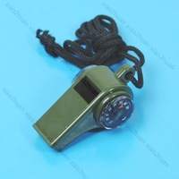 Free shipping!10pcs/lot  3 In 1 Whistle Compass Thermometer Hiking Camping New