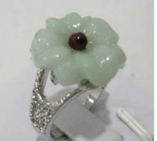 Fashion chinese jade flower women's ring size:7,8,9 shipping free(China (Mainland))