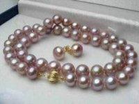 purple 8--9mm Fresh water pearl necklace&Earrings  shipping free