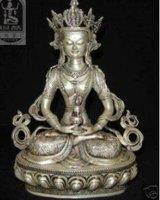 Tibet Tibetan Silver Medicine Buddha Statue free shipping