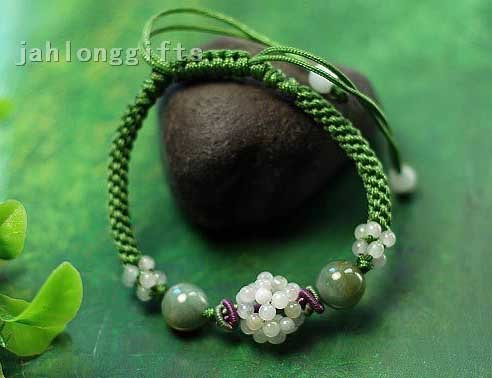 Wholesale Womens Jewelry Natural Jade Beads Bracelet Bangles Valentine's Day Gift 24pcs a Lot Free Shipping(China (Mainland))