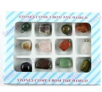 Natural Stone Necklace Pendant 36pcs/lot, 12pcs/small box+(Drop Shipping Support!) &Free shipping