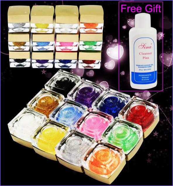 12 Colors 20ml Glitter UV Builder Gel Nail Art hkpost free shipping(China (Mainland))