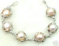 SALE huge 12-14mm Natural Pink baroque pearl adjustable 7.5-8.5&quot; bracelet silver plated chain Bracelet -bra183 Free shipping(China (Mainland))
