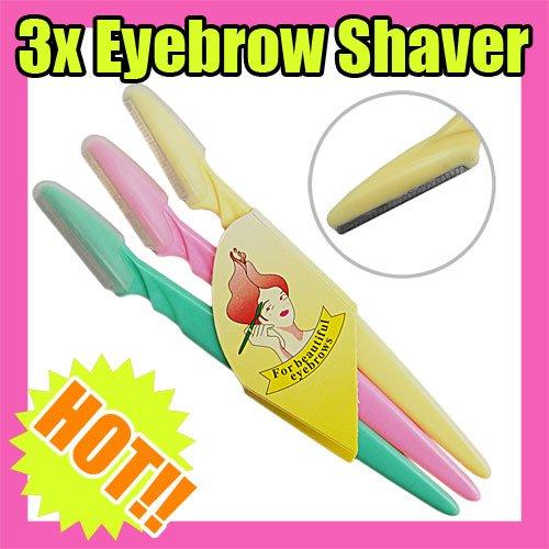 Nail Art Fast & Free Shipping Wholesales Price 3 travel eyebrow shaver shaping beautiful eyebrow Beauty 101(China (Mainland))
