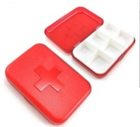 Wholesale - Red cross six cell kit portable kit Medical box Portable storage box carry separate compartments PCS pill chest