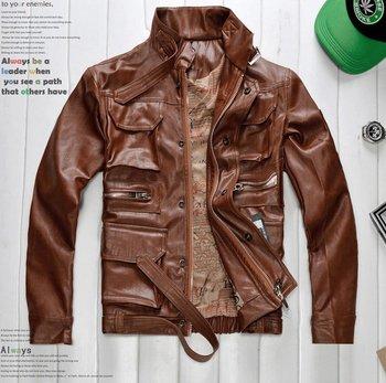 free shipping High-quality clothing men's jacket zipper EPAULET coat Motorcycle Jacket 1pcs