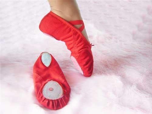 New red girls ballet dance shoes children ballet dance shoes slippers