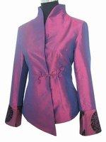 Plum Chinese Women's Satin Polyester Jacket Coat Plus Size S M L XL XXL XXXL 4XL 5XL 6XL J1051