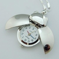Free shipping 10pcs Silver Ladybug Children's Gift pocket watch chain  Xmas Gifts