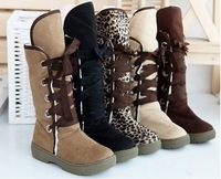 New Knee-High Low Heel Height Suede Sheepskin Warm Multi-Colored Women's Boots,Size 35-40,Lady's Boots + Free Shipping