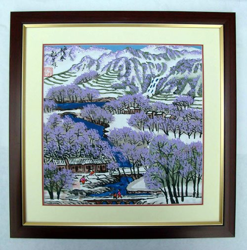 (10 pieces/lot, free shipping, Support mix batch) Chinese modern painting, traditional farmer painting of winter(China (Mainland))