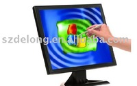 17inch LCD monitor with touch screen with VGA/ AV/&TV optional/Finger touch/support Win 7