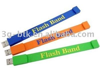 100pcs/lot 2GB silicon USB flash band flash pen drive, different colors available, logo print