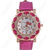 wholesale 10pcs Hello Kitty ladies girl crystal leather watch Beautiful Christmas gifts