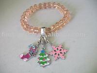 Topaz Crystal Glass Beaded Bracelet W/Enamel Christmas Charms M19306
