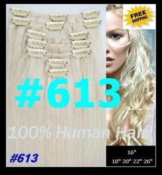 "32"" width CLIP IN HAIR EXTENSIONS , REMY HUMAN HAIR EXTENSION #613 length:16""-26"" 7pcs/set 5sets/lot"