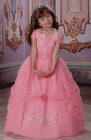 Free Shipping Hot-sale Custom-made Sequined Spaghetti Straps Taffeta Flower Girl Dress  FL-1423
