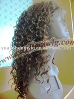 (LF-076)#4 16 inch 100% indian remy hair Water Curl  lace front wig
