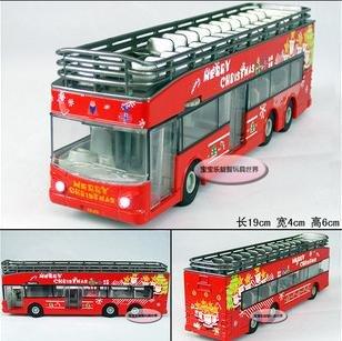 Grátis frete - atacado e retai luxo de dois andares open top ônibus de turismo de natal / natal feliz tema / som / presente de natal(China (Mainland))