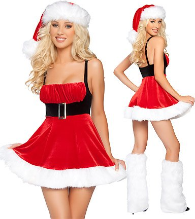 Wholesale New Sexy Red Christmas Girl Party Costume Bra Dress hot with hat+ freeshipping(China (Mainland))