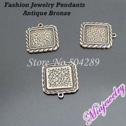 Hot Sell Jewelry Pendant,300Pcs/lot 23MM Antique Bronze Square Alloy Settings Fashion Collect Metal Pendants Jewelry Findings(China (Mainland))