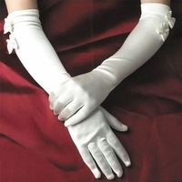 Free Shipping Good Quality Satin Bowknot Bride Wedding Bridal Gloves, Pure White and Ivory White Colors