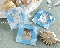 wedding favor--Blue Sea Shell and Starfish Frosted Glass Photo Coaster Set (2PCS)