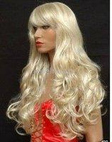 Beautiful long blonde curl human made hair full wig Free shipping