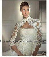 Custom-made Wedding Bridal Bolero/shrug Jacket/ bridal 1/2 long lace sleeve jacket wedding bolero