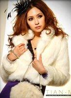 Wholesale faux fur coat outerwear,Super temperament Luxury super soft keep warm faux fur coat,white,gray&Free shipping
