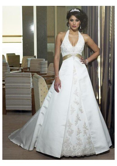 Satin Sexy Deep V-neck with Empire Waist A line Skirt, Halter, Big back Appliqued Sash Wedding Dress WM-0028(China (Mainland))