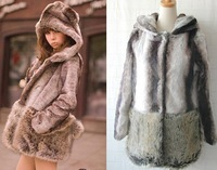 Wholesale faux fur coat outerwear,thick warm Silly bear shape long-sleeved high simulation hooded faux fur coat&Free shipping