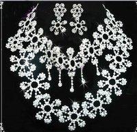 free shipping 2010 New style! women's Wedding jewelry Ablaze dangler CRYSTAL earrings bride ear pendants necklace 1set
