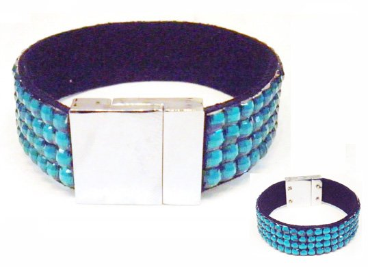 Wholesale!!Four lines Magnetic bracelet ,Blue ziccon magnet bangle with plastic stone,50pcs/lot(China (Mainland))